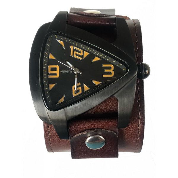 DLB061KN Nemesis IP blcak case watch with 2 inches dark Brown wide leather cuff band