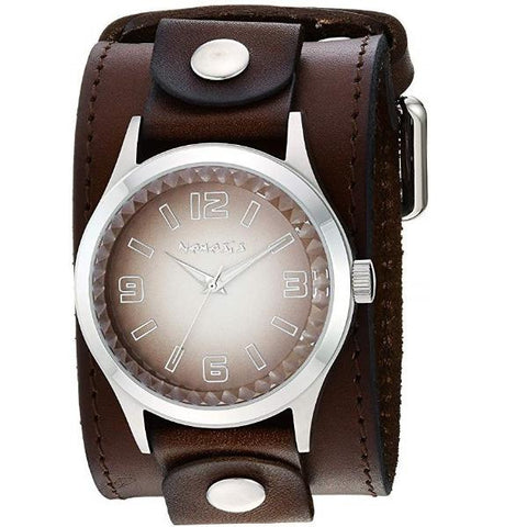 DLBB217B Brown Gradient Pointium Watch with Diamond cut Crystal Wide Faded Brown wide Leather Cuff Band