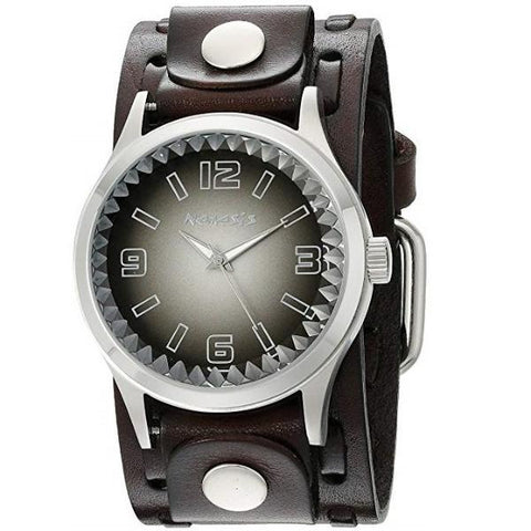 DWTK217K Gradient Pointium Watch with Brown Wide Weaving Leather Cuff Band