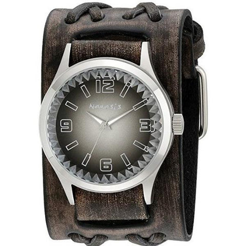 Black/White Gradient Pointium Watch with Wide Faded Black Double X Leather Cuff Band VDXB217K