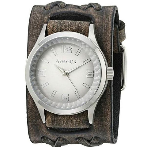 Silver/White Gradient Pointium Watch with Wide Faded Black Double X Leather Cuff Band VDXB217S