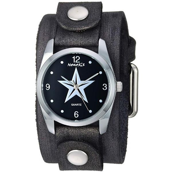 FGB355K Nemesis Women's Little Star Stainless Steel Quartz Leather cuff