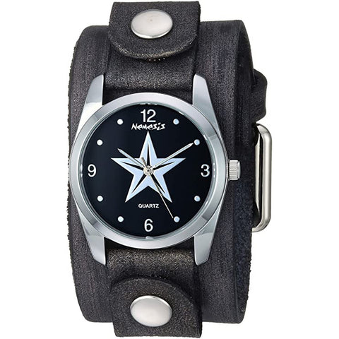VGB355K Nemesis Black Vintage Punk Rock Star Watch with 9.50inches Junior Size Black Leather Cuff Band