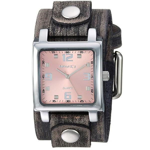 Pink Lite SQ Watch with Brown Faded X Leather Cuff Band FGB516P