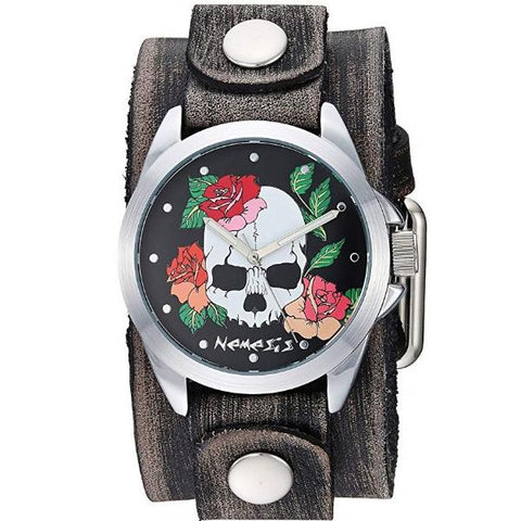 Black Skull and Roses Watch with Faded Black Junior Leather Cuff Band FGB933K