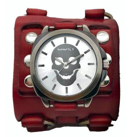 RWB935S skull watch with Red detail 3 strip leather cuff band