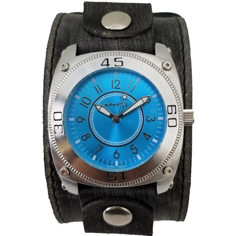 Blue Mix & Match Watch with Faded Wide Leather Cuff Band FLBB012L