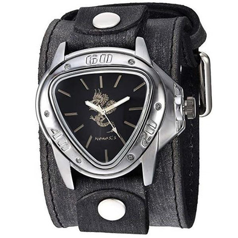 Silver/Black Dragon Gunmetal Watch with Faded XL Stitch Leather Cuff Band FLBB928S