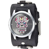 Silver Sugar Skull Watch with Faded Dark Brown Ring Leather Cuff Band KFRB925K