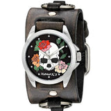 Black Skull and Roses Watch with Faded Black Leather Ring Cuff Band KFRB933K