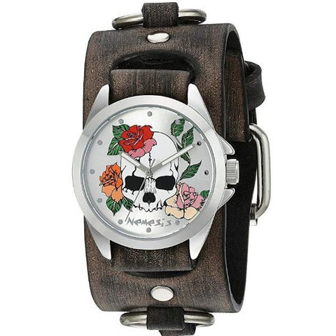 Silver Skull and Roses Watch with Faded Grey Leather Ring Cuff Band FRB933S