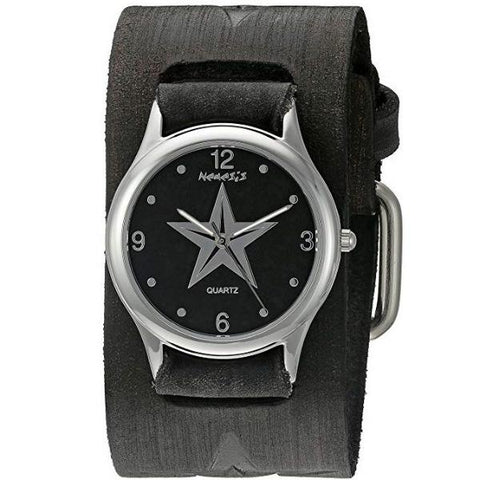 Black Vintage Punk Rock Star Watch with Faded Black Embossed Star Leather Cuff Band 355FST-K