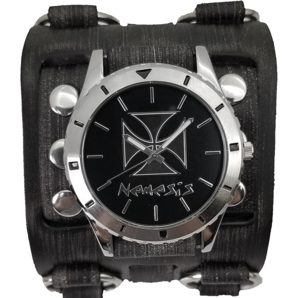 FWB956K Nemesis Black Iron Cross Watch with Vintage Black Wide Detail Leather Cuff Band