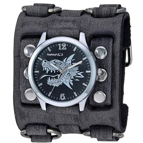 Black/Silver Dragon Head Watch with Black Wide Detail Leather Cuff Band FWB903K