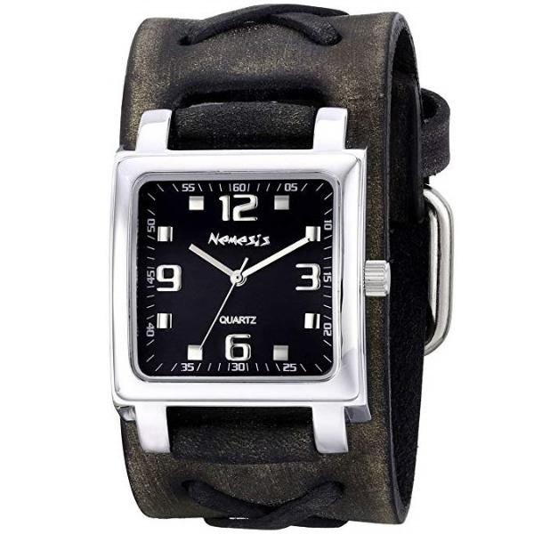 Black Lite SQ Unisex Watch with Faded Black X Leather Cuff Band KFXB516K