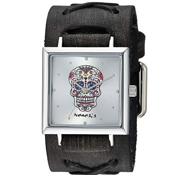 Silver Sugar Skull Square Watch with Faded black Leather Cuff Band FXB955S