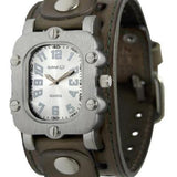 Silver Rugged Watch with Khaki Leather Cuff Band GSTH007S