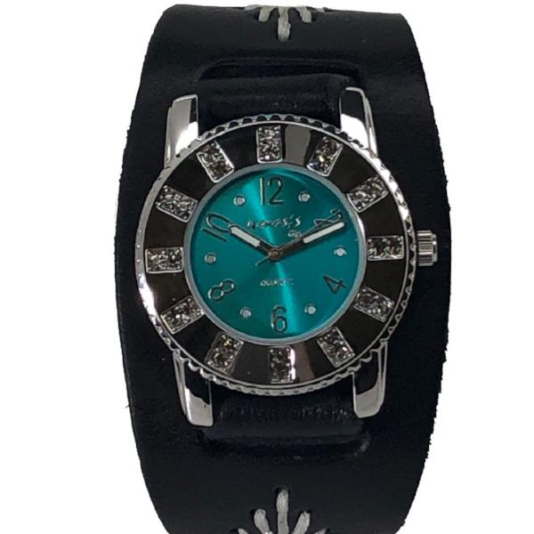 BF311T Nemesis ladies trendy look crystal watch with Black leather cuff band