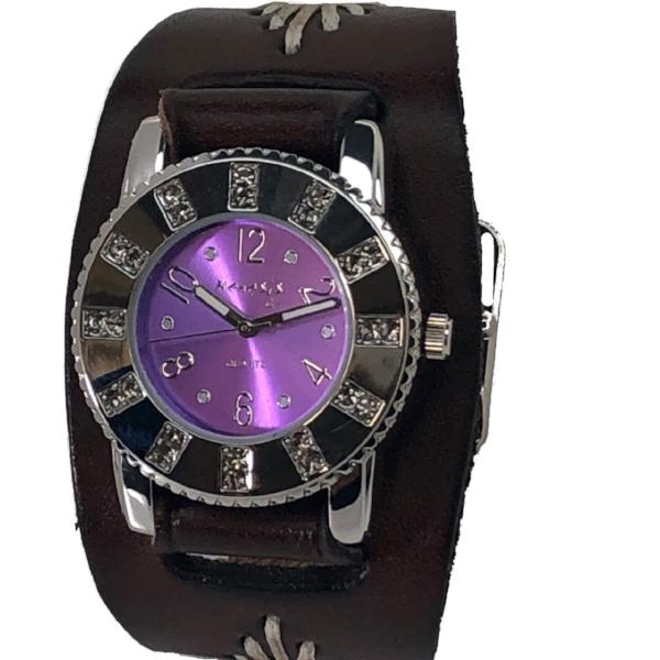 BBF311P Nemesis ladies trendy look crystal watch with Brown leather cuff band