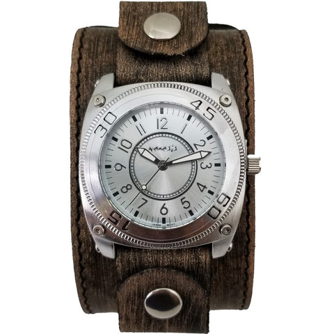 Silver Mix & Match Watch with Faded Wide Leather Cuff Band KBFLBB012S