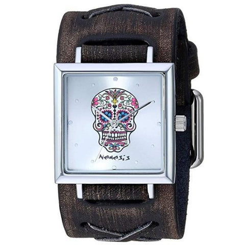 Silver Sugar Skull Square Watch with Faded Brown Leather Cuff Band KBFXB955S