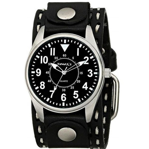 Black Unique Watch with Black Double Stitched Leather Cuff Band KDSTH095K