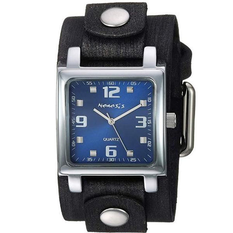 Silver/Brown Lite SQ with Leather Cuff Watch FBN516L