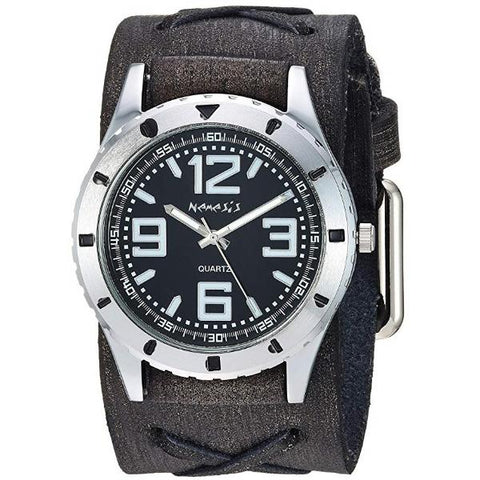 KFXB096K Sporty Racing Watch with Black Vintage Leather Cuff Band