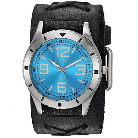 KFXB096L Sporty Racing Watch with Black Vintage Leather Cuff Band