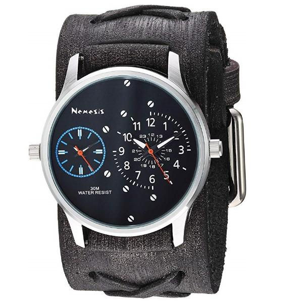KFXB219KL Black/Blue = Dual Time RD with Faded  X Leather Cuff Band