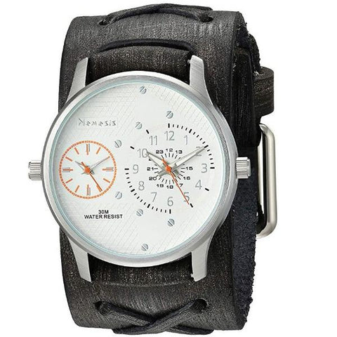 KFXB219S Silver/Orange Dual Time RD Faded X Leather Cuff