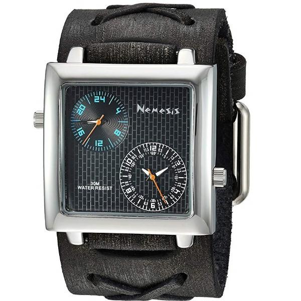 KFXB221KL Black/Blue  Dual Time SQ with Vintage X Leather Cuff Band