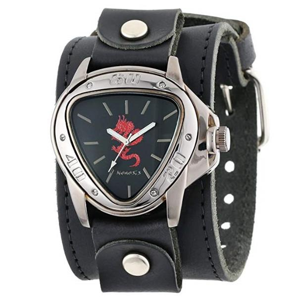 Black/Red Dragon Watch with All Black Single Stich Leathe Cuff Band LBB928R