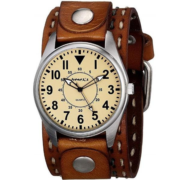 Yellow Unique Watch with Brown Double Stitched Leather Cuff Band BDSTH095Y