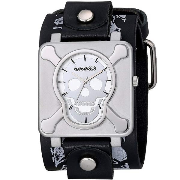 Cross Bone Skull Silver  Leather Band Watch LMS930S