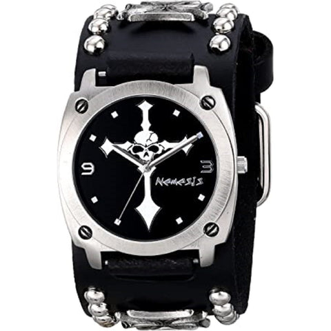 MIC927K Black Cross Skull with Black Iron Cross Studded Leather Cuff Band