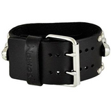 Black Heavy Duty Skull Watch with Black Studded Skull Leather Cuff Band MSK926K