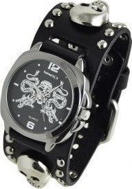 MSK910K Black Dragon King of Skulls Watch with Black Stud Leather Cuff Band