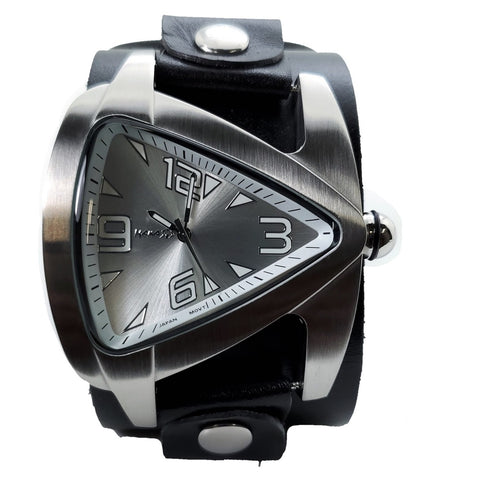 LBN011S  Nemesis Black Teardrop watch with w 2 inches wide black leather cuff band