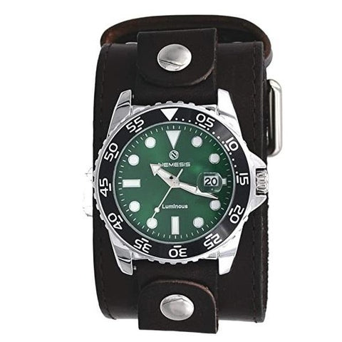 DLBB277G Nemesis Luminous Deluxe Night vision Diving watch with Dark Brown Wide leather cuff band