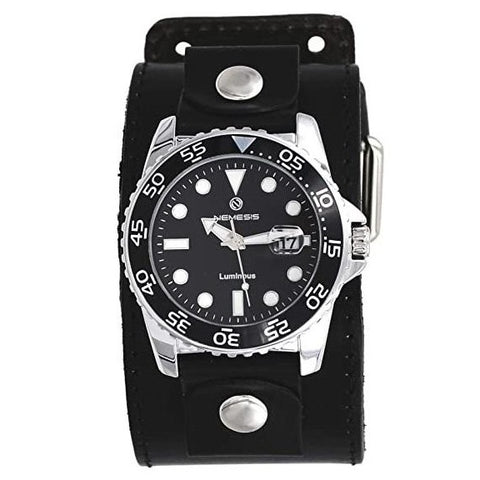 LBB277K Nemesis Luminous Deluxe Night vision Diving watch wit Black Wide leather cuff band
