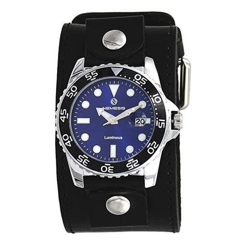 LBB277L Nemesis Luminous Deluxe Night vision Diving watch wit Black Wide leather cuff band