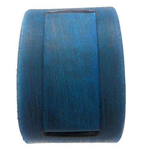 VLIN  vintage blue 2 inches wide leather cuff band
