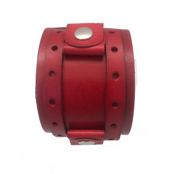 RLWB NEMESIS LADIES RED 2 STRP 1.75 INCHES X 9.5 INCHES LONG LEATHER CUFF BAND