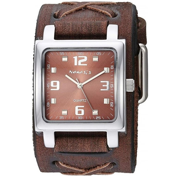 Brown Lite SQ Watch with Brown Faded X Leather Cuff Band BFXB516B