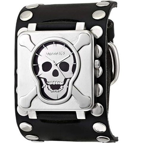 Silver Cross Bones Skull Watch with Black Flat Studded Leather Cuff Band SM930K