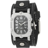 Black Rugged Watch with Black Single Stitched Leather Cuff Band STH007K
