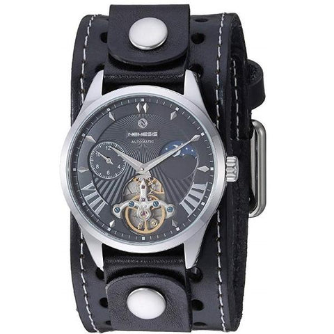 STH511K Nemesis stainless steel 5ATM water resistant Mechanical day & night watch with Black leather cuff band.