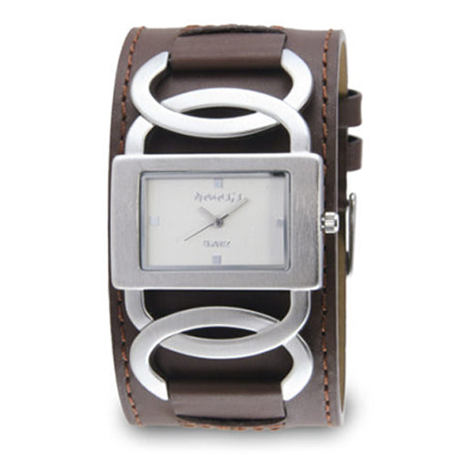 Silver Cross Arc Ladies's Watch with Brown Leather Band NS104BS