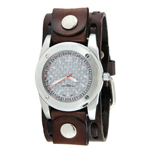 Silver Elegant Carbon Fiber Men's Watch with Dark Brown Wide Weaving Leather Cuff Band 051DBWTK-S